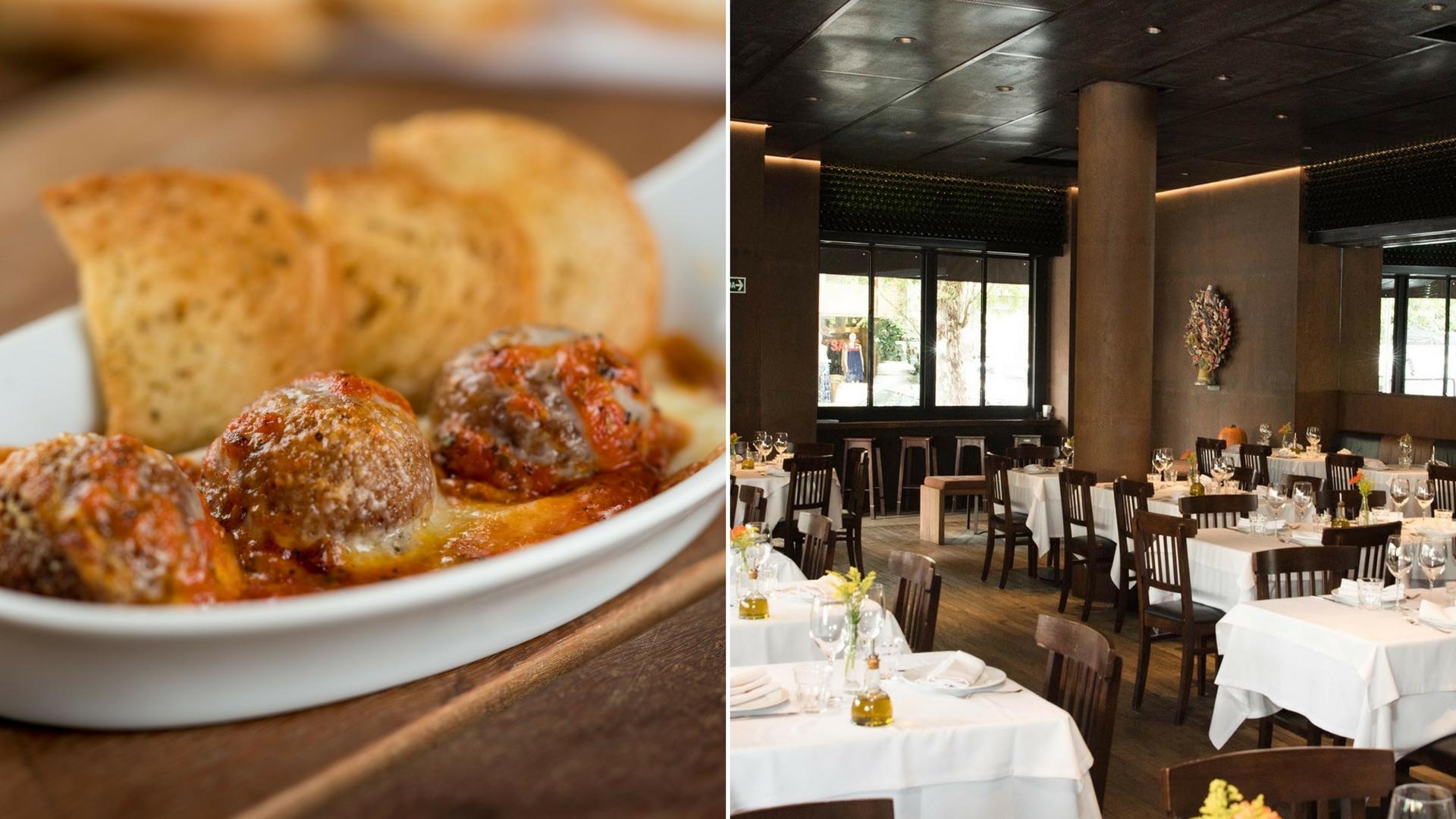 O polpettine ao molho de tomate e gorgonzola e o salão da Casa Ravioli (fotos: divulgação)