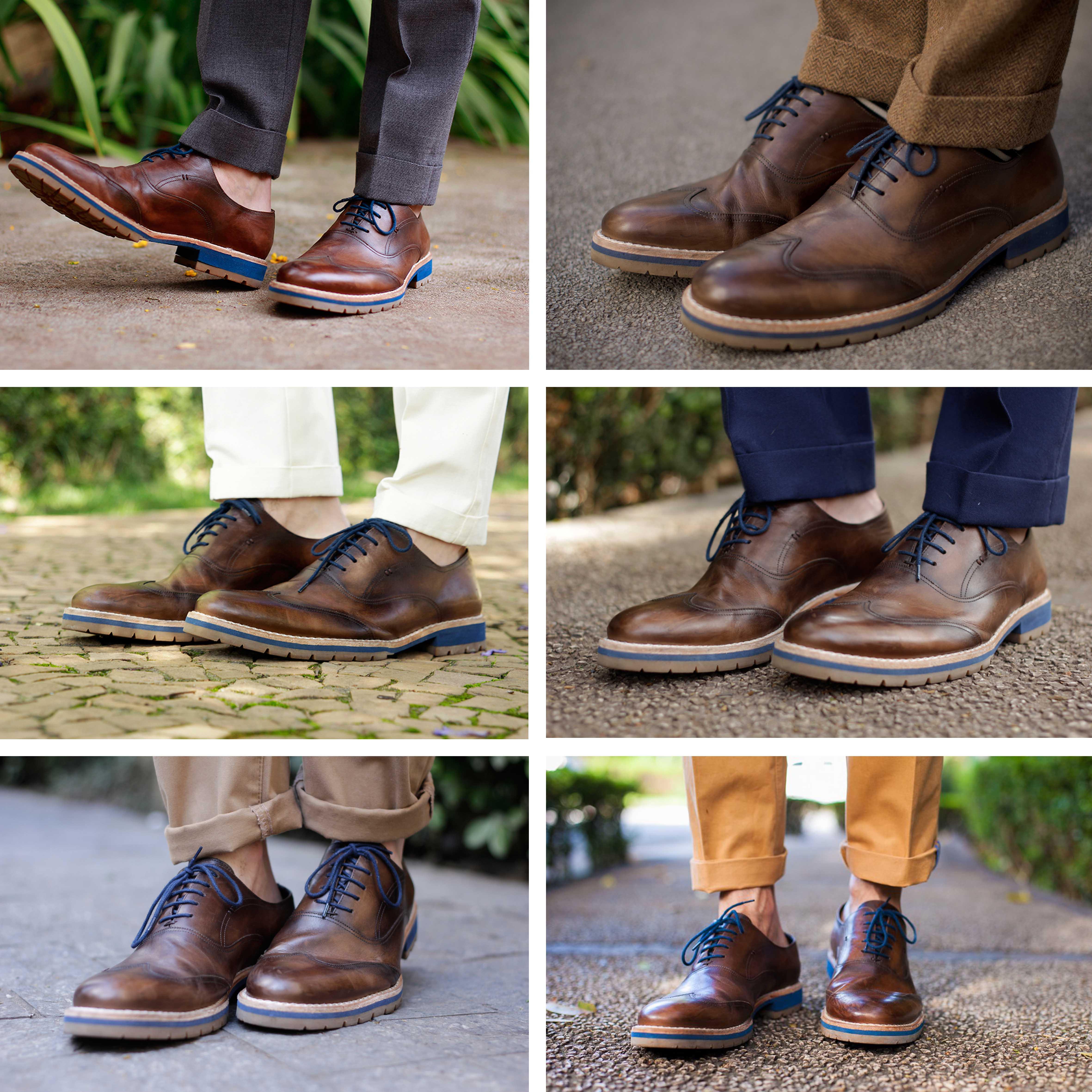 """dfd06b3e551 ... jeans e chinos podem ser dobrados livremente para """"acompanhar"""" a  ocasião e o tipo de sapato usado. Na dúvida"""